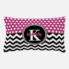 Pink Polka Dots Black Chevron Monogram Pillow Case