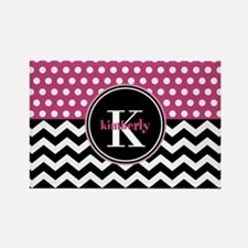 Pink Polka Dots Black Chevron Mon Rectangle Magnet