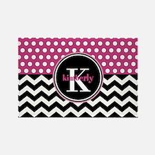 Pink Polka Dots Black C Rectangle Magnet (10 pack)