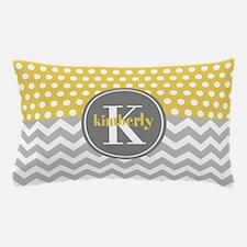 Yellow Gray Dots Chevron Monogram Pillow Case