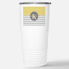 Yellow Gray Dots Chevro Stainless Steel Travel Mug