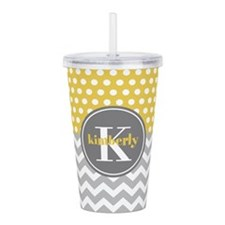 Yellow Gray Dots Chevr Acrylic Double-wall Tumbler