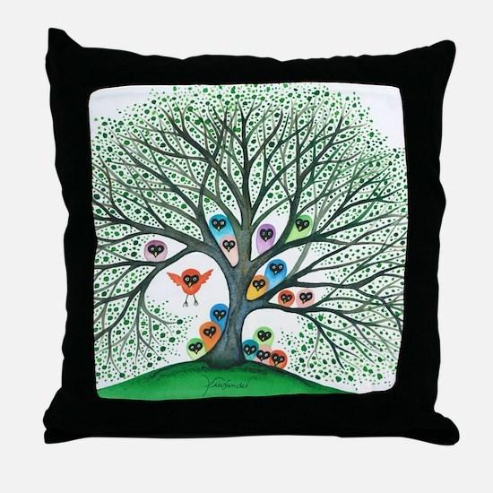 Teton Owls in Tree Throw Pillow