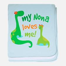 My Nona Loves Me Dinosaur baby blanket