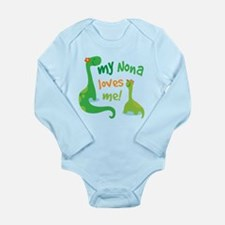 My Nona Loves Me Dinos Long Sleeve Infant Bodysuit