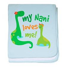My Nani Loves Me Dinosaur baby blanket