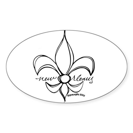 NOLA fleur Oval Sticker