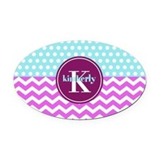 Aqua and Pink Chevron Polka Dots M Oval Car Magnet