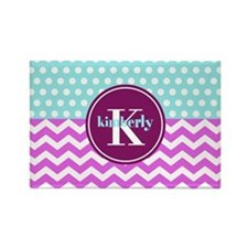 Aqua and Pink Chevron Polka Dots Rectangle Magnet