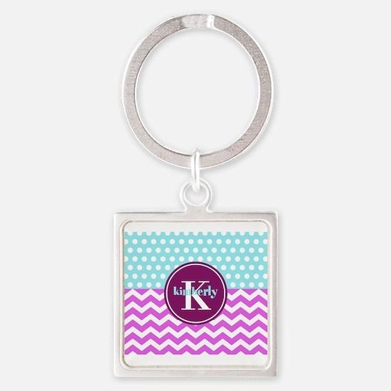 Aqua and Pink Chevron Polka Dots M Square Keychain