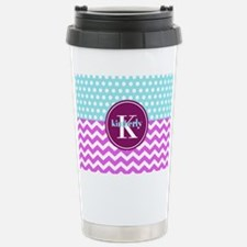 Aqua and Pink Chevron P Travel Mug