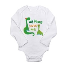 My Mema Loves Me Dinos Long Sleeve Infant Bodysuit