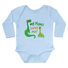 My Mama Loves Me Dinos Long Sleeve Infant Bodysuit
