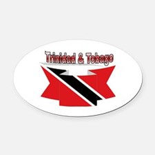 Trinidad flag ribbon Oval Car Magnet