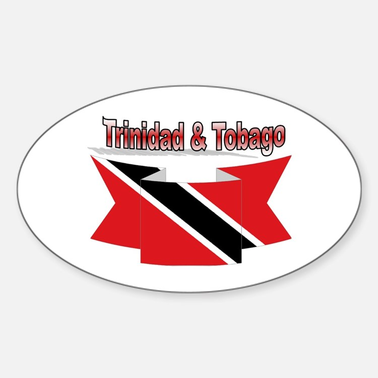 Trinidad flag ribbon Sticker (Oval)