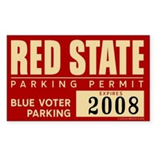 Blue Voter Red State Parking Rectangle Decal