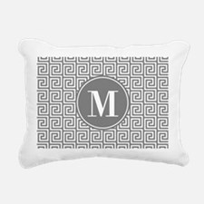 Gray White Greek Key Cus Rectangular Canvas Pillow