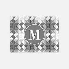 Gray White Greek Key Custom Monogra 5'x7'Area Rug