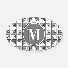Gray White Greek Key Custom Monogr Oval Car Magnet