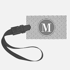 Gray White Greek Key Custom Mono Luggage Tag