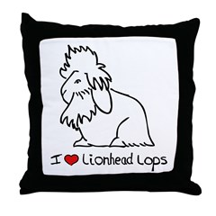 I Love Lionhead Lops Throw Pillow