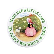 """MARY HAD A LITTLE LAMB 3.5"""" Button (100 pack)"""