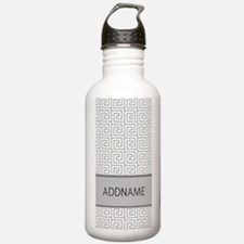 Gray and White Greek K Water Bottle