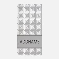 Gray and White Greek Key Monogram Beach Towel