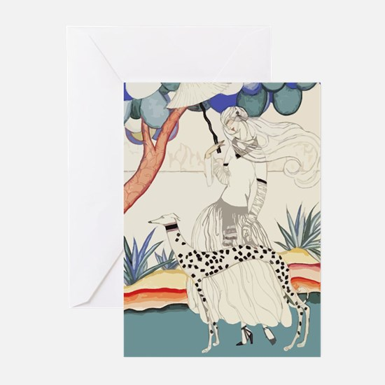 Art Deco Greyhound Greeting Cards
