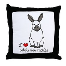 I Love californian Rabbits Throw Pillow