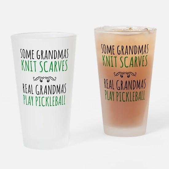 Real Grandmas Play Pickleball Drinking Glass