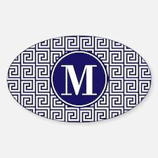 Navy Blue White Greek Key Custom Mo Sticker (Oval)