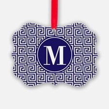 Navy Blue White Greek Key Custom Ornament