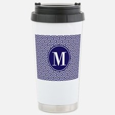 Navy Blue White Greek K Stainless Steel Travel Mug