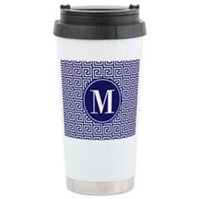 Navy Blue White Greek K Travel Mug