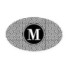 Black and White Greek Key Custom M Oval Car Magnet