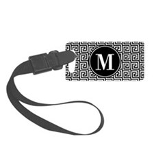 Black and White Greek Key Custom Luggage Tag