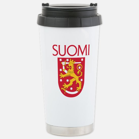 Suomi Coat of Arms Stainless Steel Travel Mug
