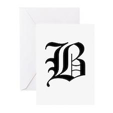B-oet black Greeting Cards