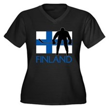 Finland Hock Women's Plus Size V-Neck Dark T-Shirt