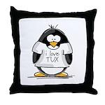 Love Tux Penguin Throw Pillow