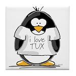 Love Tux Penguin Tile Coaster