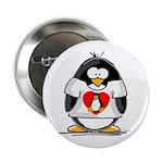 Heart tux Penguin Button