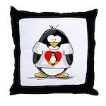 Heart tux Penguin Throw Pillow