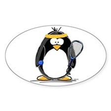 racquetball Penguin Oval Decal