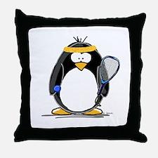 racquetball Penguin Throw Pillow