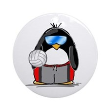 beach volleyball boy Penguin Ornament (Round)