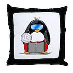 beach volleyball boy Penguin Throw Pillow