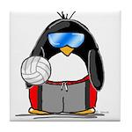 beach volleyball boy Penguin Tile Coaster