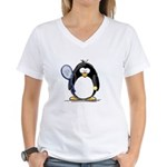 Tennis Penguin Women's V-Neck T-Shirt